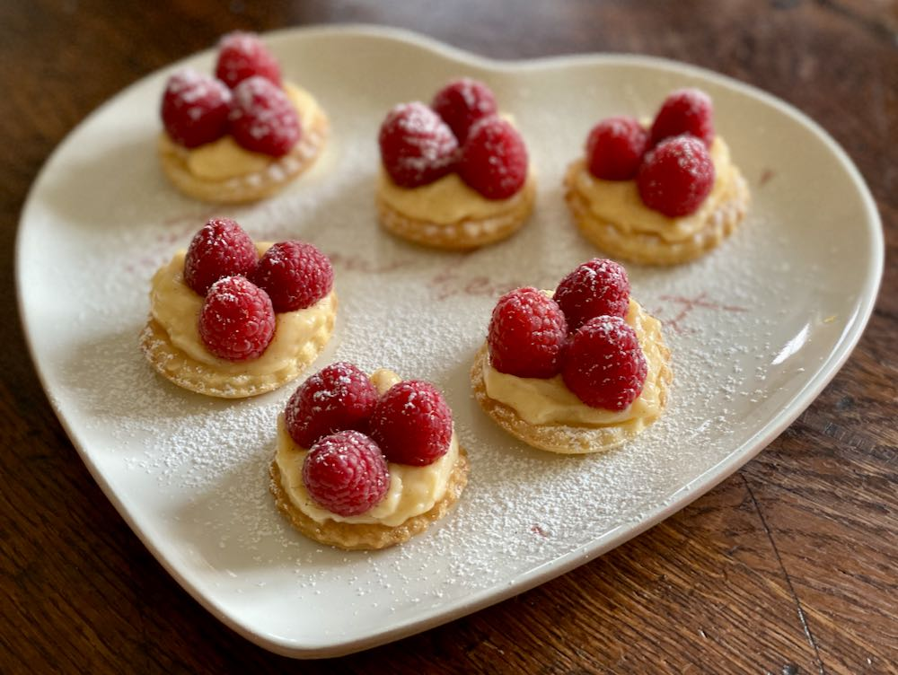 Mini raspberry tartes creme patissiere pastry mothers day treats